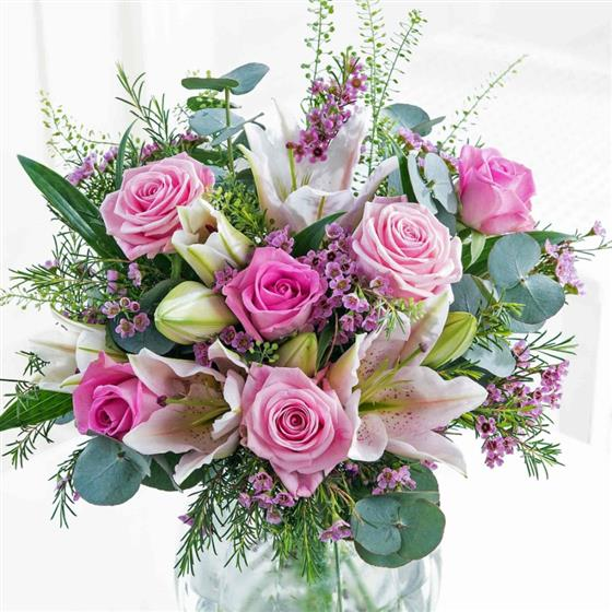 Large Soft Pink Cascade Hand-tied Bouquet